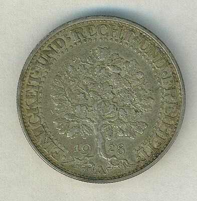 1928 A Weimar Germany 5 Mark Oak Tree nice condition