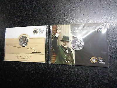 2x £20 POUND SOLID STERLING SILVER UNCIRCULATED ROYAL MINT SEALED/PACKAGED COINS