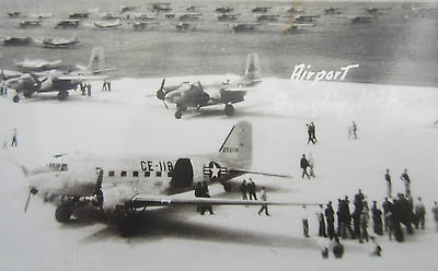 Grayling Michigan Airport RPPC Military Aircraft Vintage Postcard C-47 P51 Plane