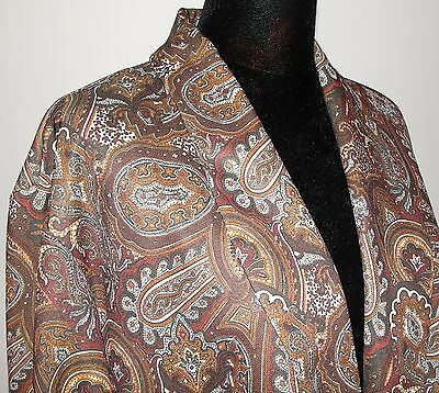Vintage Crimplene Paisley Dressing Gown / Robe / Smoking Jacket - Size: 40 42