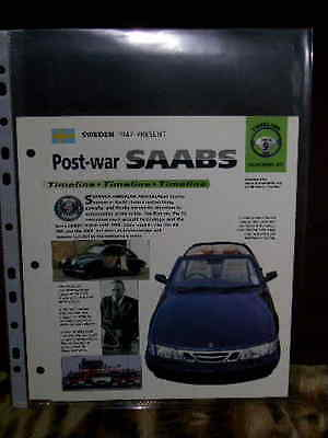 Post-War Saabs Car History File 1947-1998 X4 Pages In Excellent Condition.