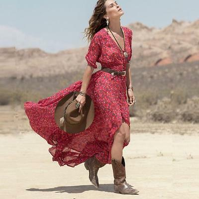 Fashion Womens Ladies Boho Floral Long Maxi Chiffon Cocktail Beach Party Dress A