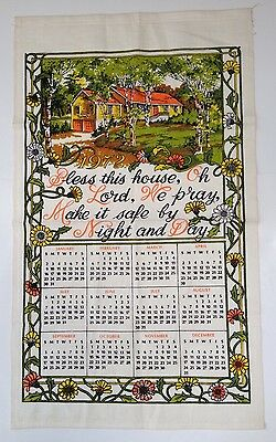 1972 Vintage Calendar Towel Orange Yellow Green With House And Prayer
