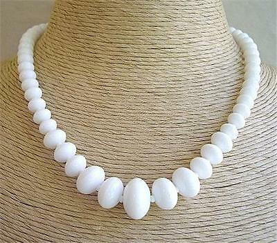 Typical 1940's Unused Vintage Chunky Lily White Bead Necklace