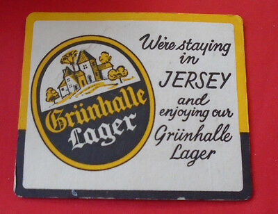 Sous Bock Vintage Sous Verre Ancien Biere Grunhalle Lager Were Staying In Jersey