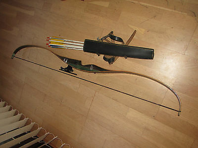 """Fred Bear Grizzly Recurve Bow, Right Hand 58""""50# In Very Good Condition & Arrows"""