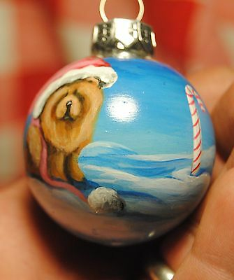 Original Painting~Chow Chow~Dog~small~Christmas Ornament~Hand Painted~Whimsical