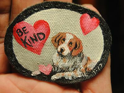 Original Painting~Brittany Spaniel~Dog~Hand Painted~Valentine~PATCH~Sew~be Kind