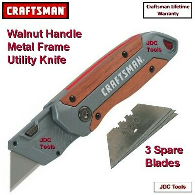 Craftsman Twin Blade Lockback Folding Knife w Utility Blade Cutter 2 in 1 NEW