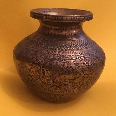 Antique Middle Eastern Islamic Qajar Persian Engraved Brass Urn Vase 3 1/2""