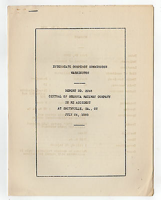 Central of Georgia ICC Accident Report July 24, 1950 - Smithville, GA CofG