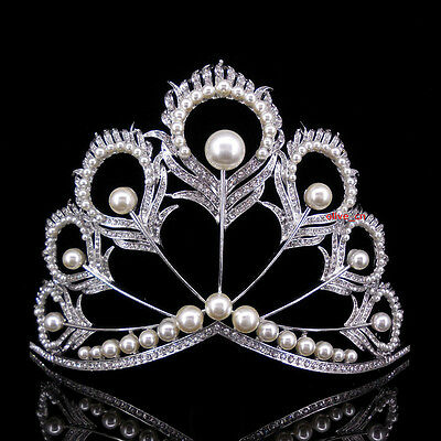 12cm High Large Peacock Feather Crystal Wedding Bridal Party Pageant Prom Tiara