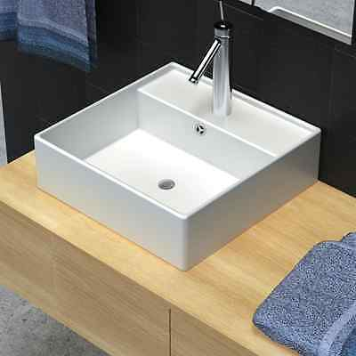 S# Bathroom White Square Above Counter Top Ceramic Basin Bowl Faucet Hole Vanity