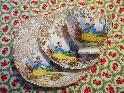 VINTAGE China COLCLOUGH Trio CRINOLINE LADY Set COUNTRY GARDEN Gold Chintz