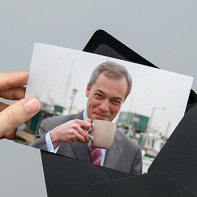 Nigel Farage Cup of Tea Photo - 6x4 inch Un-signed - with Unsealed Gift Envelope