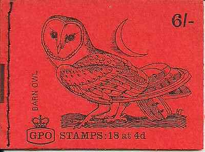 1969 Gb Qeii 6/- Stitched Stamp Booklet Sg Qp45 Barn Owl Bird January Issue