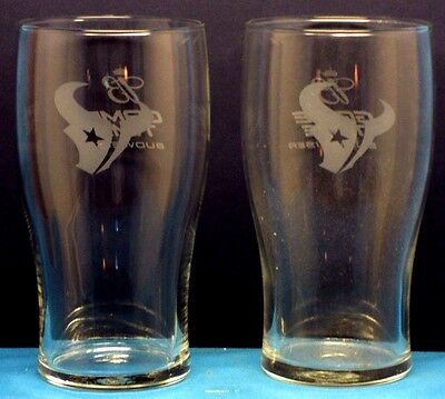 BUDWEISER Beer Game Time / HOUSTON TEXANS Set of 2 Glasses for the Man Cave