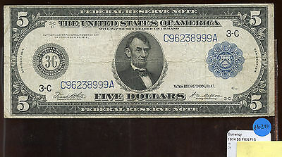 $5 Dollar Federal Reserve 1914 Philadelphia Blue Large Size Currency Note AA0240