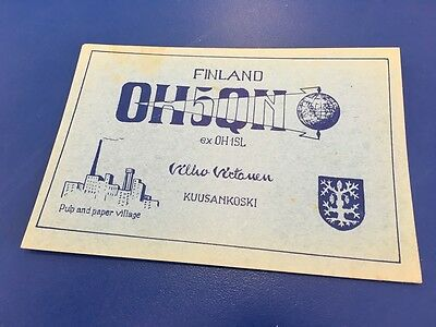 Vintage QSL Ham Radio Card - 1956 - OH5QN - Finland To UK