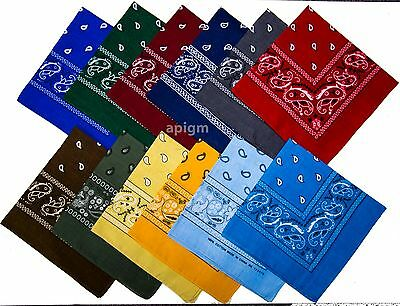 1 Dozen (12 pieces) Men's 100% Cotton  Paisley  Bandanas Head Wrap