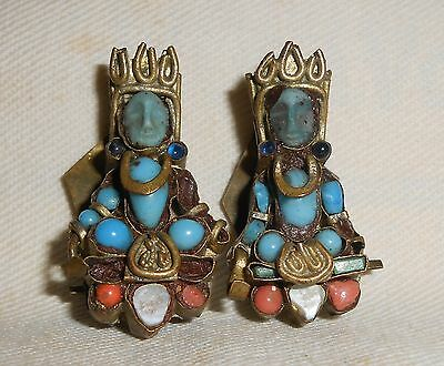 Antique Buddha Earrings : Handmade Brass Coral Jewelry China Tibet Clip On Old