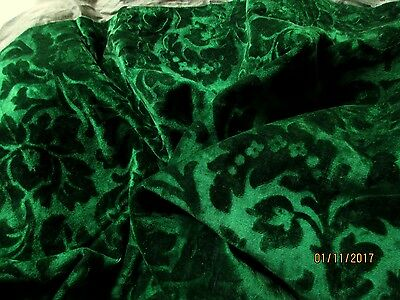Exquisite Antique French Victorian Rich Emerald Green Silk Velvet Fabric Foliate