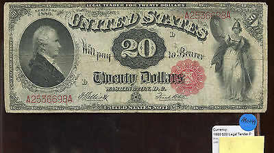 $20 Dollar Legal Tender 1880 Red Large Size Currency Note AA0244