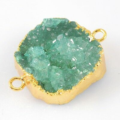 Green Agate Druzy Geode Connector Gold Plated B029866