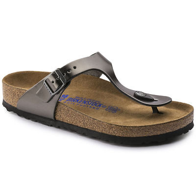 Birkenstock Gizeh Sandals - Leather - Anthracite - Soft Footbed