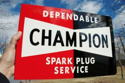 Old Style Champion Spark Service Plug Bowtie Vintage Type Flange Sign Usa Made!