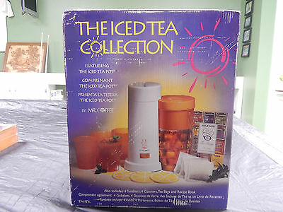 Vintage 2qt Mr. Coffee Iced Tea Maker Gift Set With Tumblers and Coasters TM1TK
