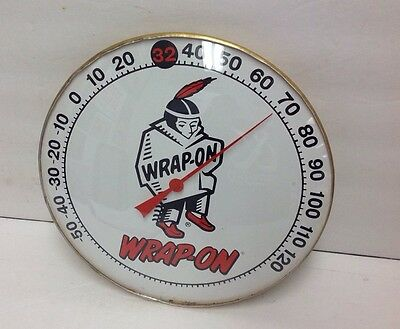 """ROUND 10"""" WRAP ON INDIAN THERMOMETER GLASS SIGN WORKS! Native American"""