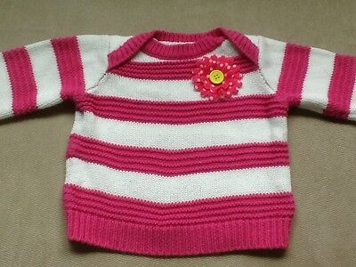 Made with Love by PLACE - Baby Girls Sweater - Size 3-6 Months - Pink & White -