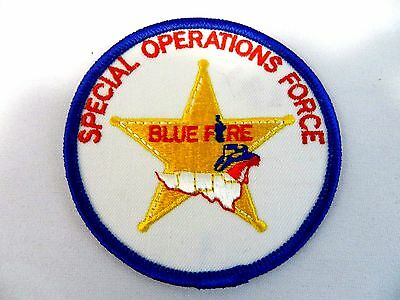 Vintage Special Operations Force Blue Fire Sew On Patch 3""