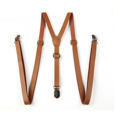 Faux Leather Suspenders Y Cross Universal Braces Clip-on Belt Three Buckles New