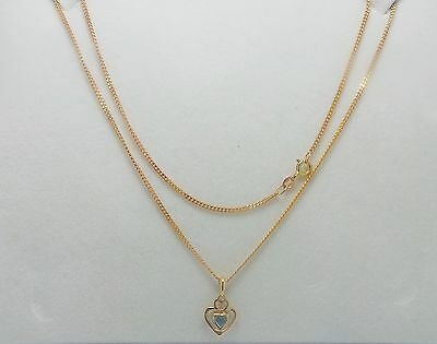 9ct YELLOW GOLD FINE CURB LINK CHAIN NECKLACE WITH TOPAZ HEART PENDANT
