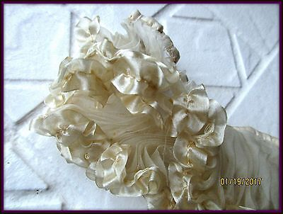 Antique Victorian French Wedding Gossamer Silk Knifepleat Tiny Ruffle Cream Trim