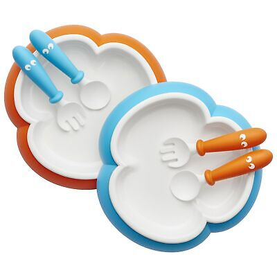 BabyBjorn Baby/Child/Kid Plate, Spoon and Fork Set 2-Pack Orange/Turquoise