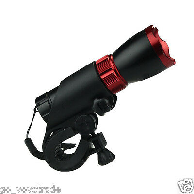 Bike Bicycle Accessory 17W LED Flashlight Holder Front light Torch Red