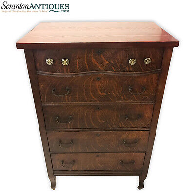 Antique American Tiger Oak Chest of Drawers Tall Dresser w/ Brass Pulls