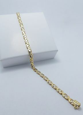 18Ct Yellow & White Gold Chain Link Bracelet - 18 Cm