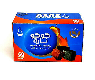 Coco Nara Coconut Shells Hookah Charcoal Flat Cubes 60 pcs Box Shisha NEW