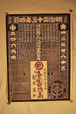 Japanese 1890 Astrology - Horoscope Lunar & Solar Woodblock Calendar / Poster