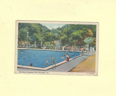 Covington VA 1947 postcard SWIMMING POOL & DIVING Virginia to Towson MD
