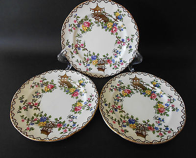 3 X Vintage Aynsley England Pagoda Pattern Side Or Bread & Butter Plates
