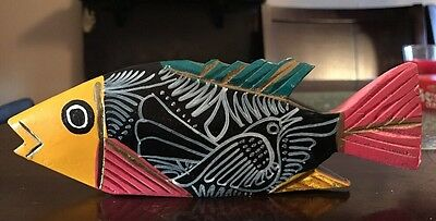Folk Art Vintage Hand Carved/Painted Solid Wood Fish With Bird Colorful