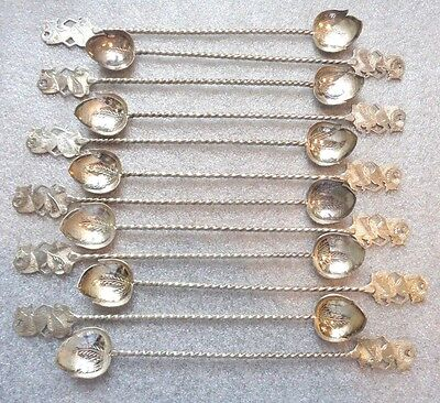 fine antique lot 12 sterling 800 silver Indonesian ice tea spoon