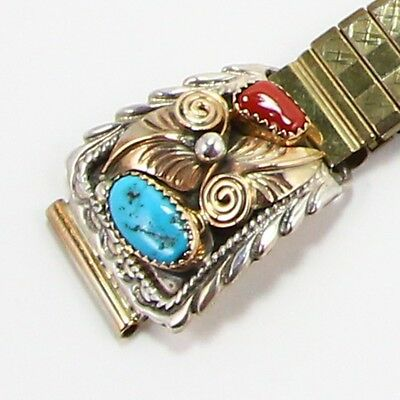 VTG Sterling Silver - NAVAJO Turquoise Coral Watch Tips w/ Band - 36g