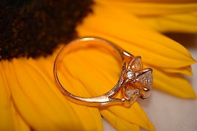 Vintage Gold Plate Ring with Clear Crystal Ring Size 8 1/4