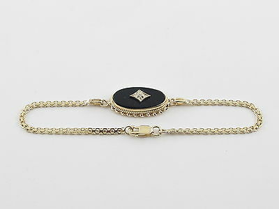 14k Yellow Gold Diamond And Onyx  Bracelet 7""